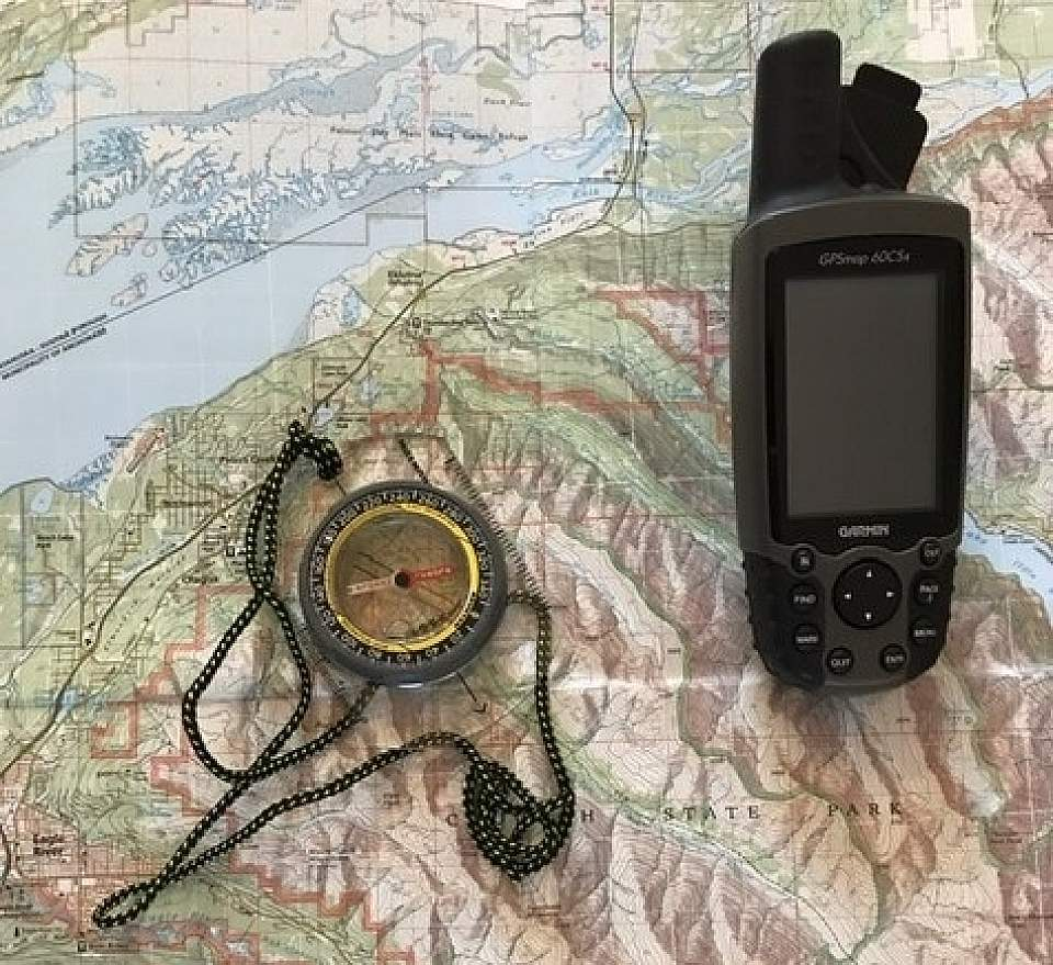 Topographic map and compass and GPS