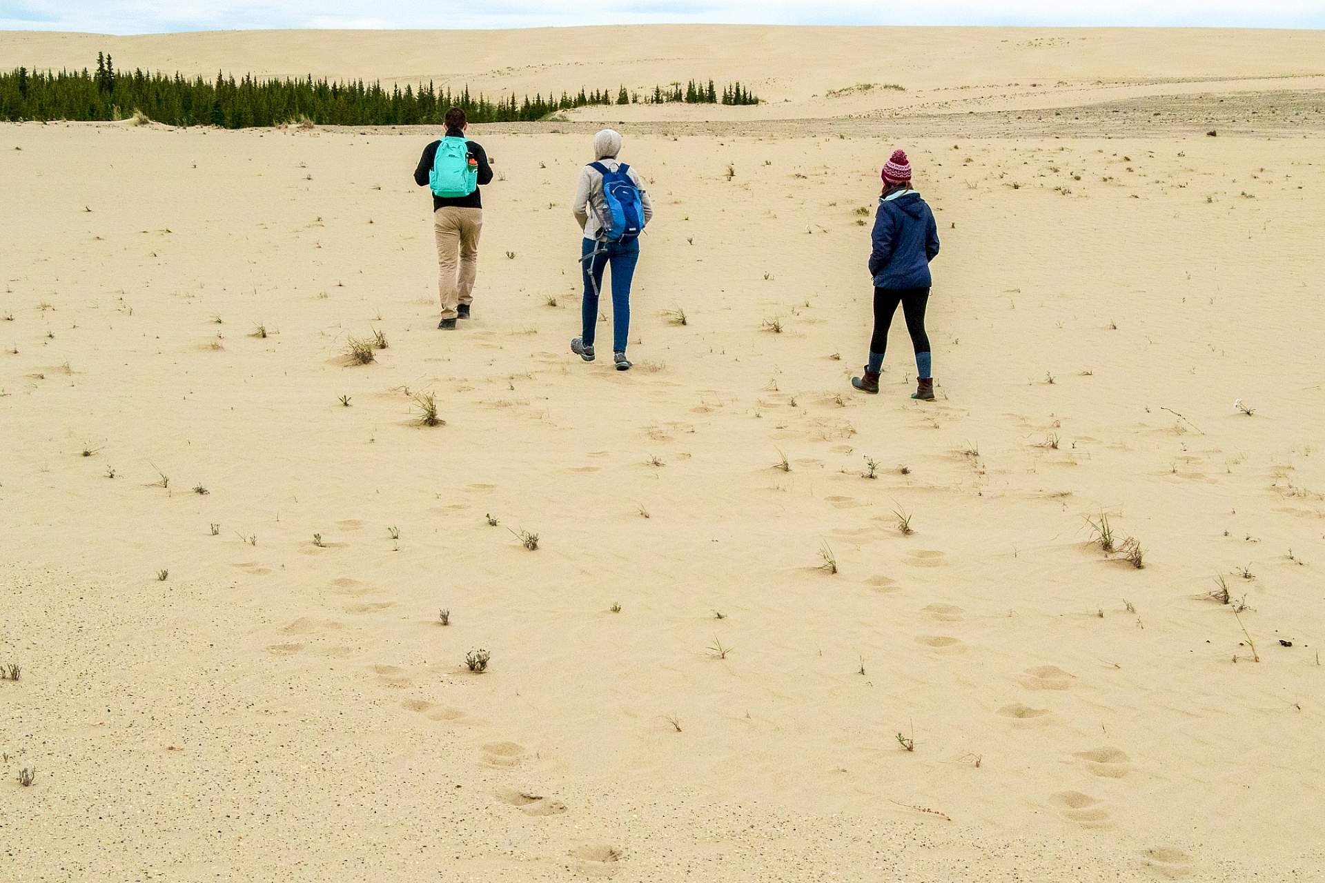 Alexyn and friends walk across the sand dunes in Kobuk Valley national Park