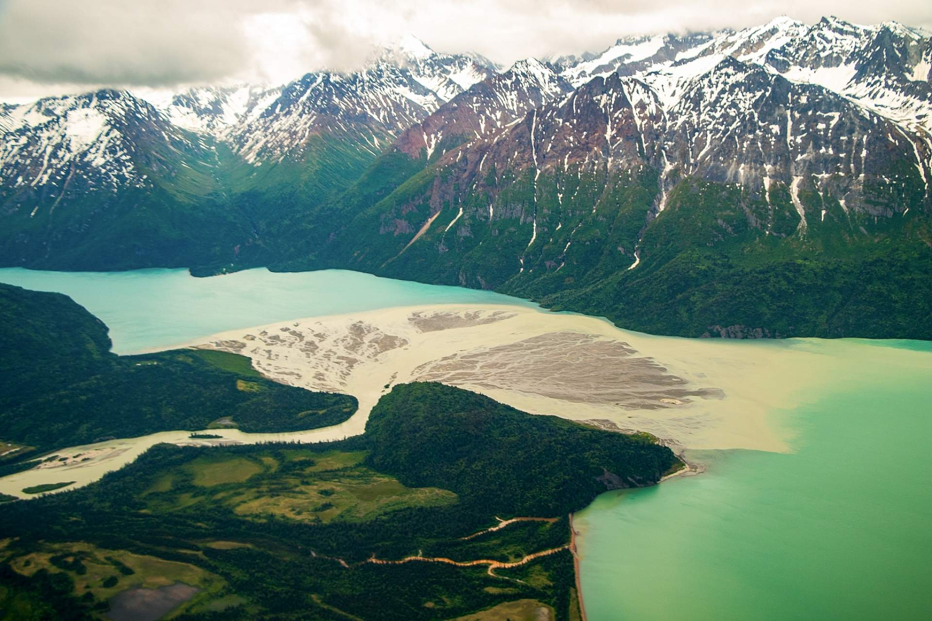 View flying into Lake Clark National Park