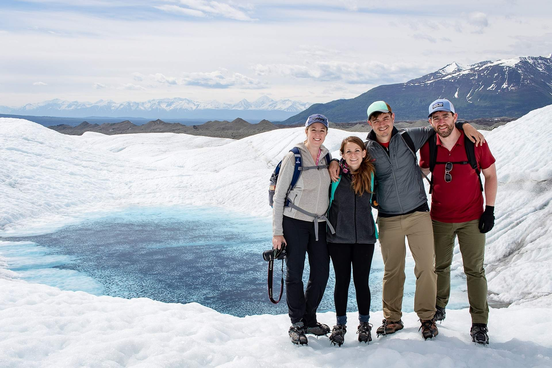 Alexyn and friends stand on the Root Glacier in Wrangell St. Elias National Park