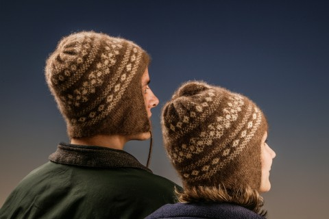 Two winter hats made from qiviut at the Oomingmak Cooperation