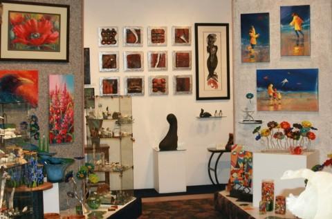 Various art pieces displayed at Aurora Fine Art