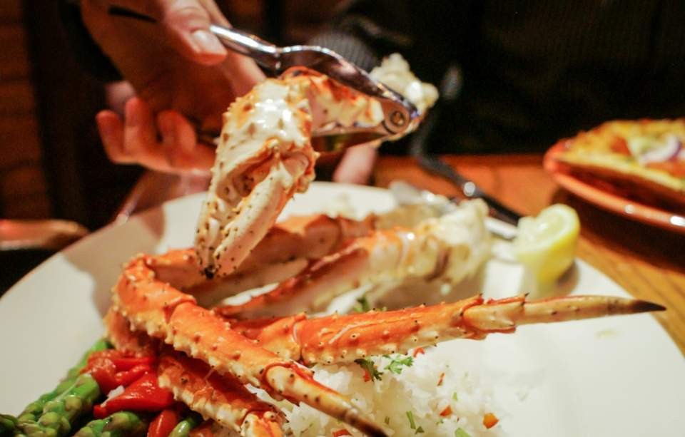 Plate of crab legs from Glacier Brewhouse