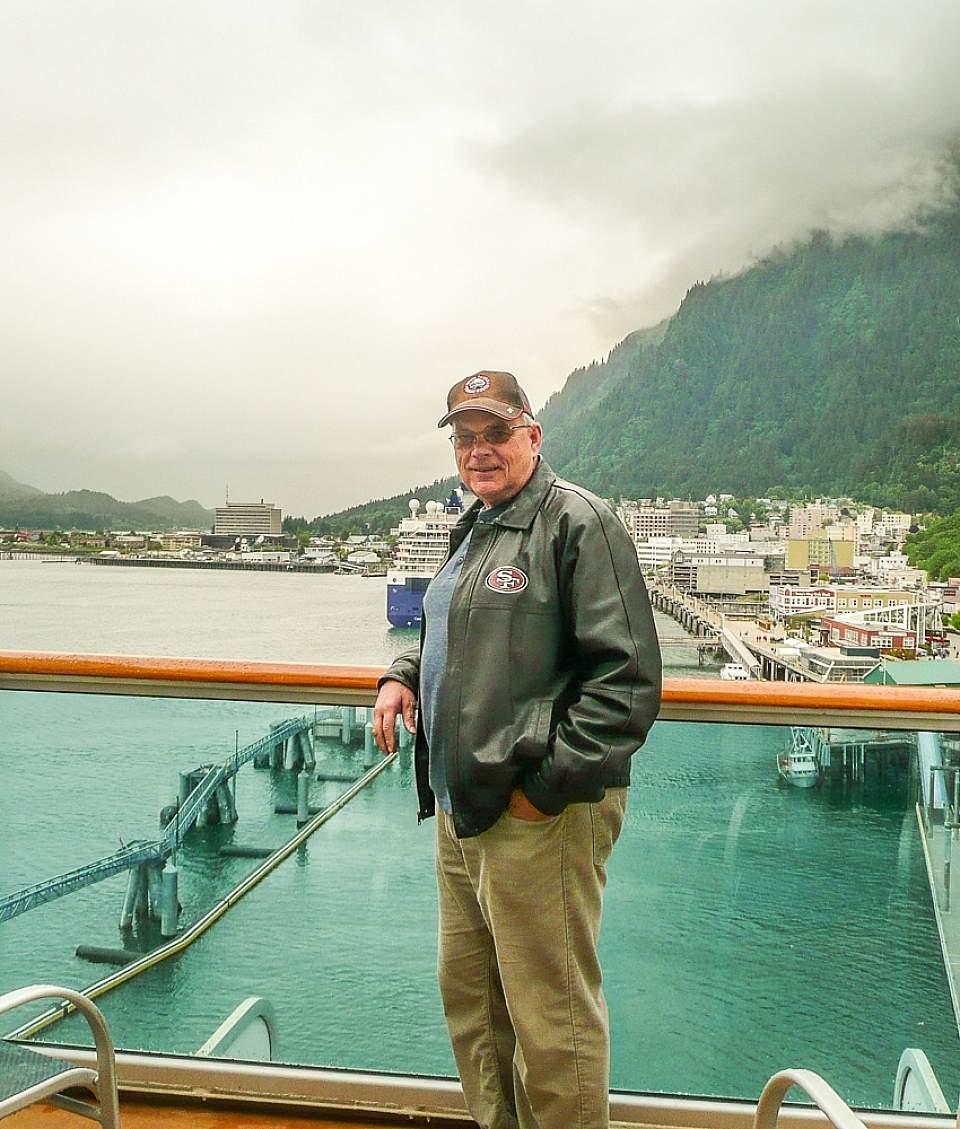 John on the deck of a cruise ship in Juneau, Alaska
