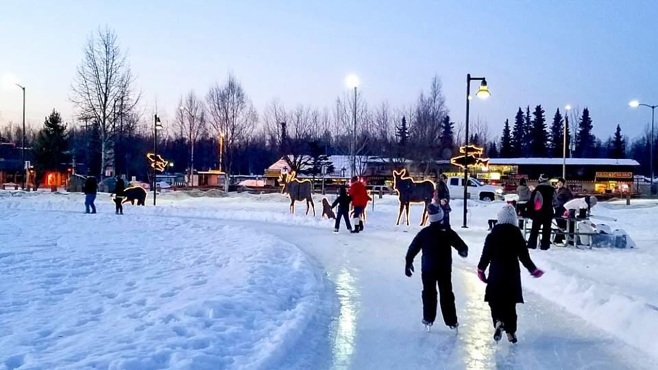 Winter Ice Skating in Soldotna