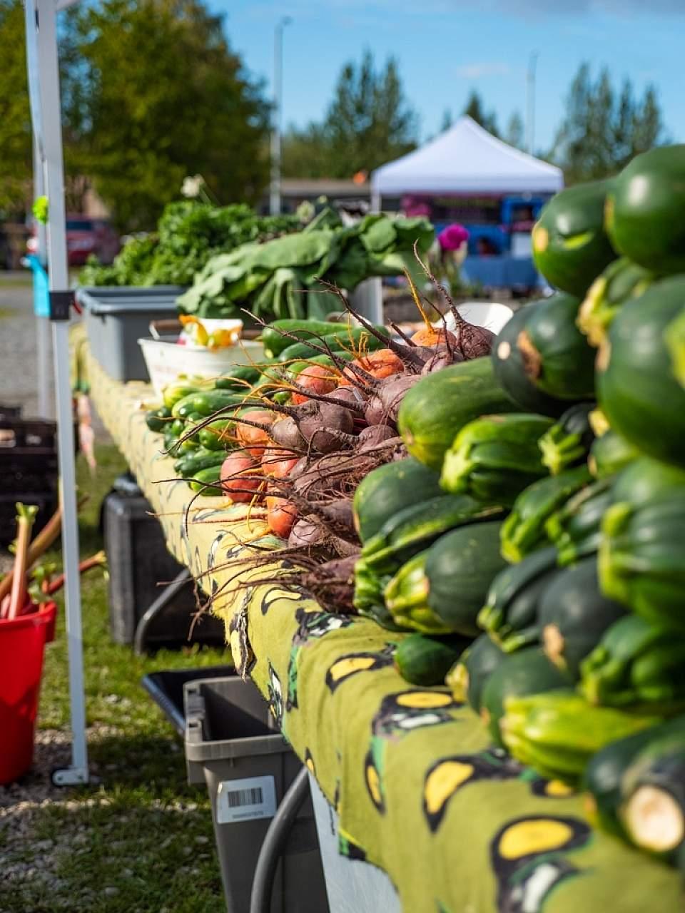 Fresh veggies lined up at Soldotna's Wednesday Market