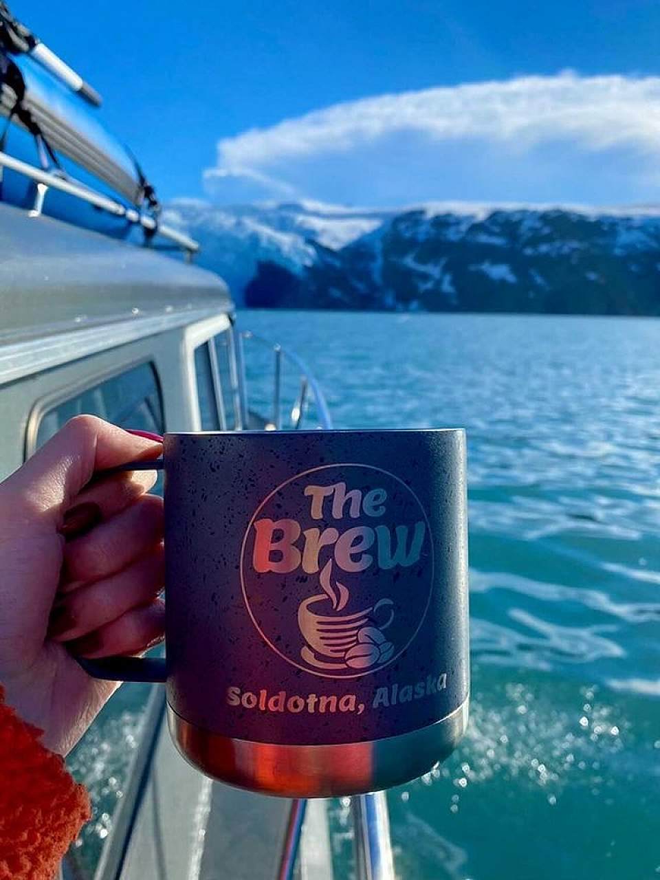 The Brew in Soldotna Alaska offers 32-ounce cups of coffee, iced tea and tropical green ice tea