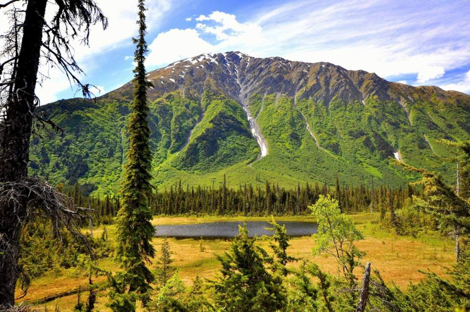 A lake and mountain in the Alaska backcountry