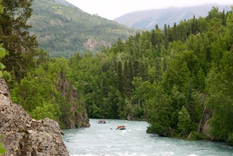 Guests float down the scenic Kenai River with Alaska Wildland Adventures