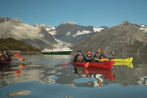 Liz Galloway Dan Blanchard Kayaking in Glacier Bay with Wilderness Adventurer
