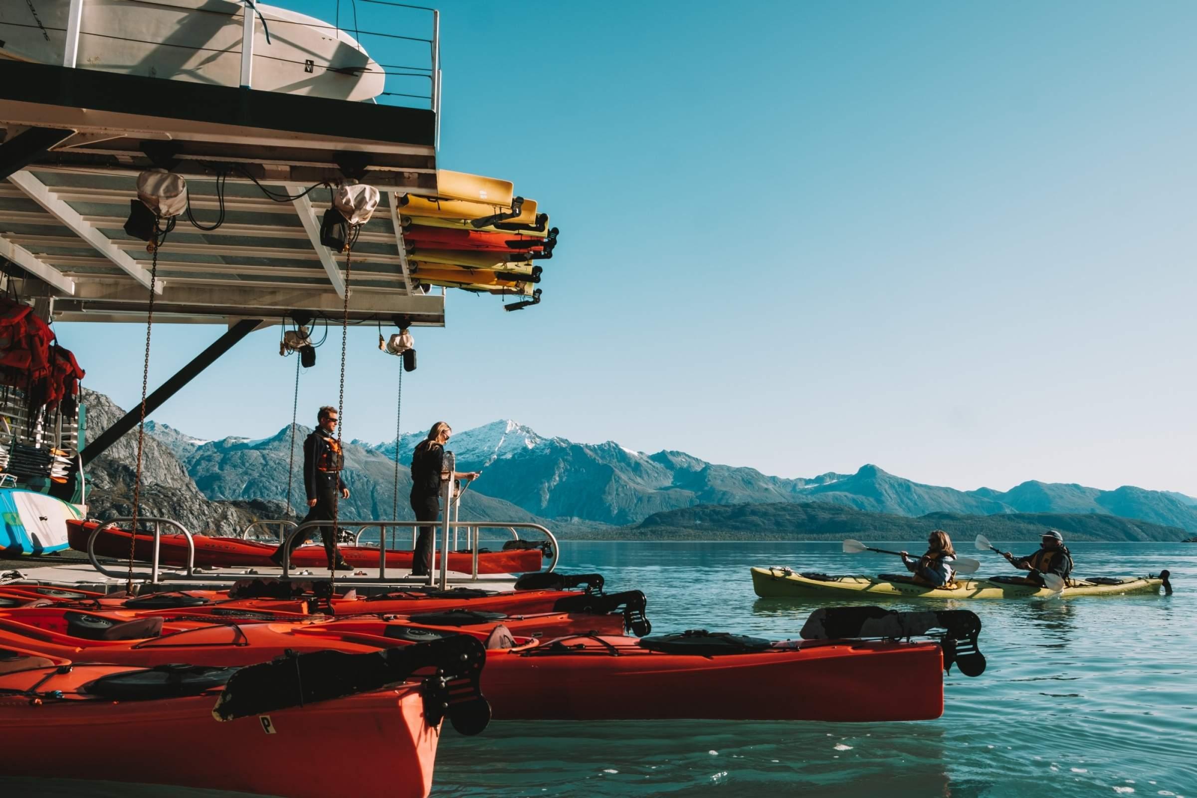 Liz Galloway Dan Blanchard Guests returning from kayaking Glacier Bay