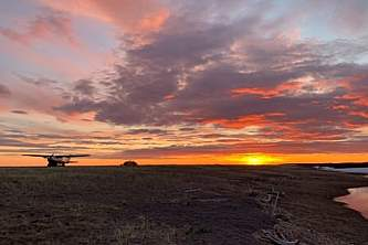 Delta junction Camping Battle Rock at sunset
