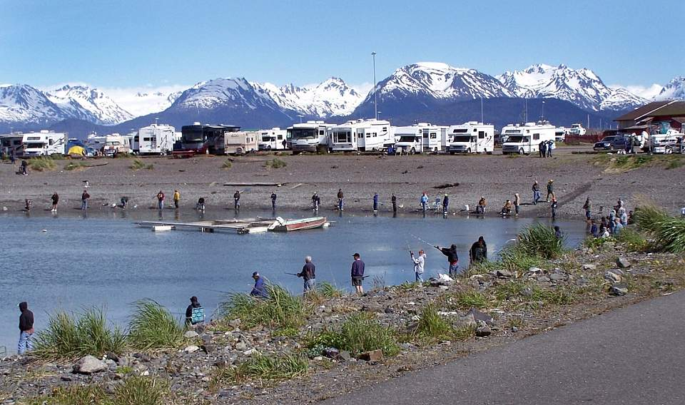 Campers and anglers fish the Dudiak Fishing Hole in Homer, Alaska