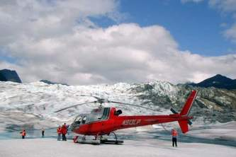Skagway guided hiking Helicopter on glacier with people walking around