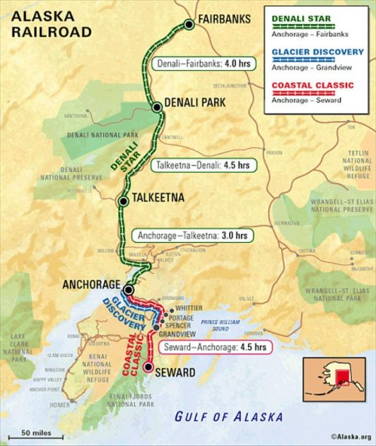 Alaska Railroad Map All Routes Alaska Org