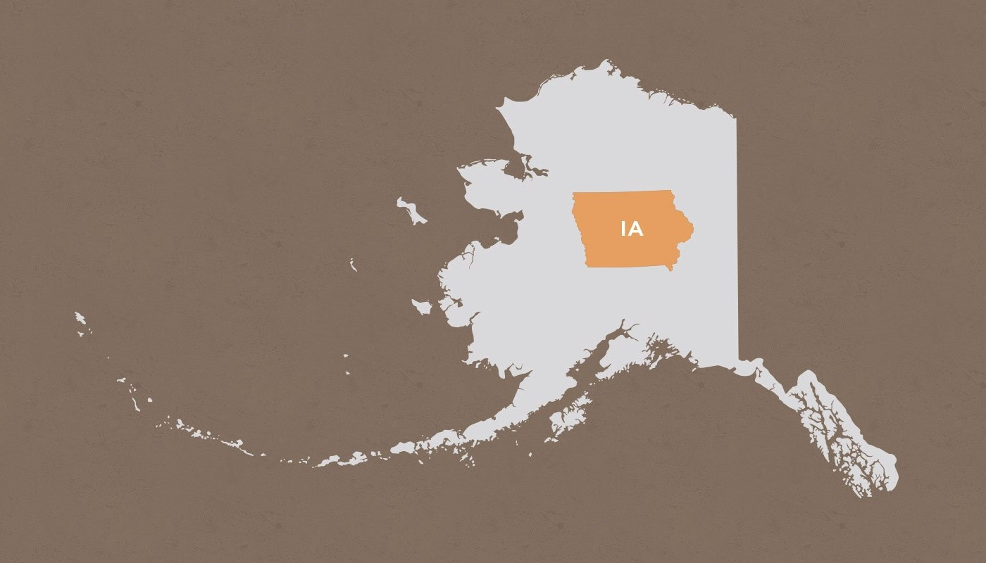 Iowa compared to Alaska