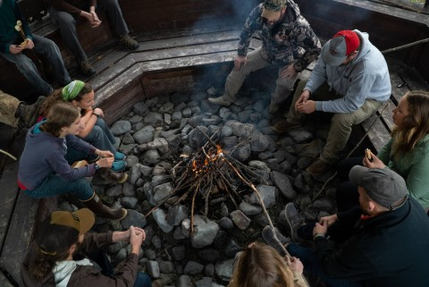 Make s'mores around the campfire at Wood River Lodge