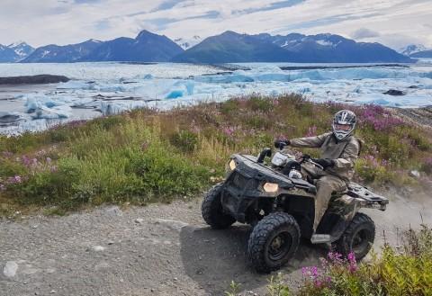 Travel by ATV to a remote Alaska glacier
