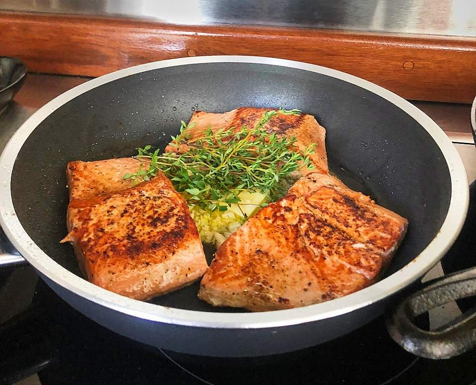 Meals feature fresh Alaskan seafood and locally grown vegetables