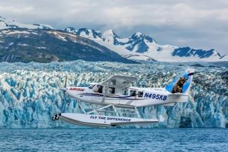 Alaska by air flightseeing Float Flight Take off at Glacier 2