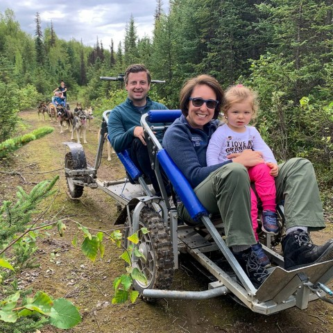 A specially engineered cart that simulates a sled lets you ride the trails in summer. No snow required!