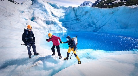Guides will provide necessary gear, and teach you how to traverse the glacier safely