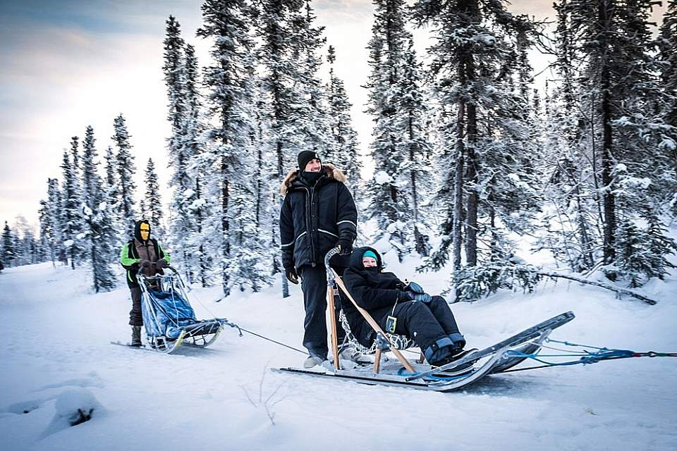 Dog sledders using a tag sled in winter