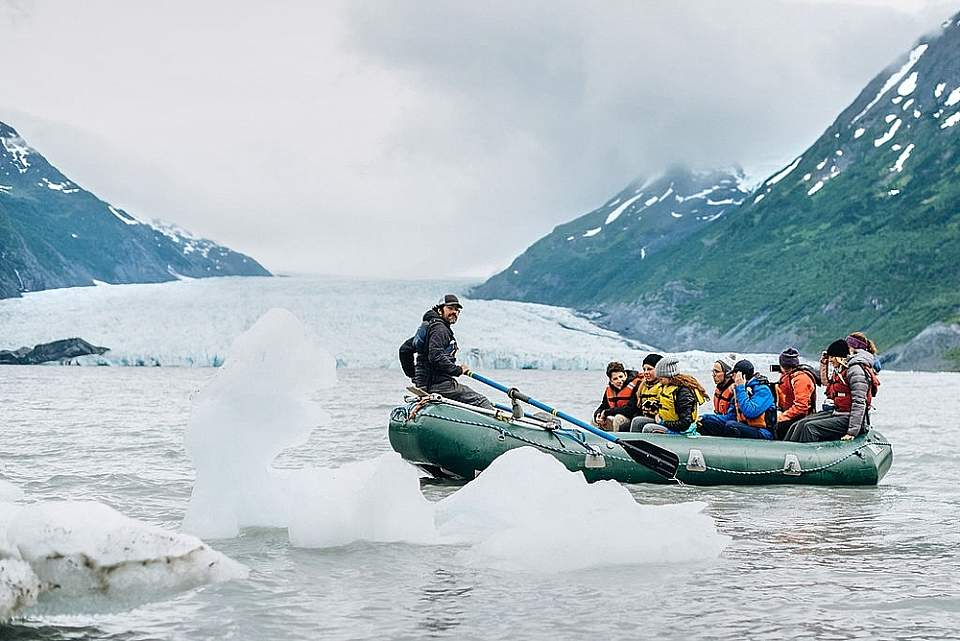 You'll feel like an Arctic explorer as you float among icebergs that have broken off the Spencer Glacier.