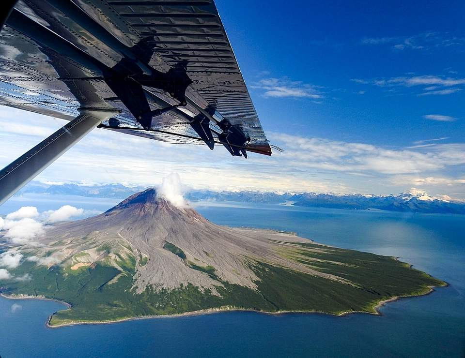 View volcanoes as you make your away across the Cook Inlet