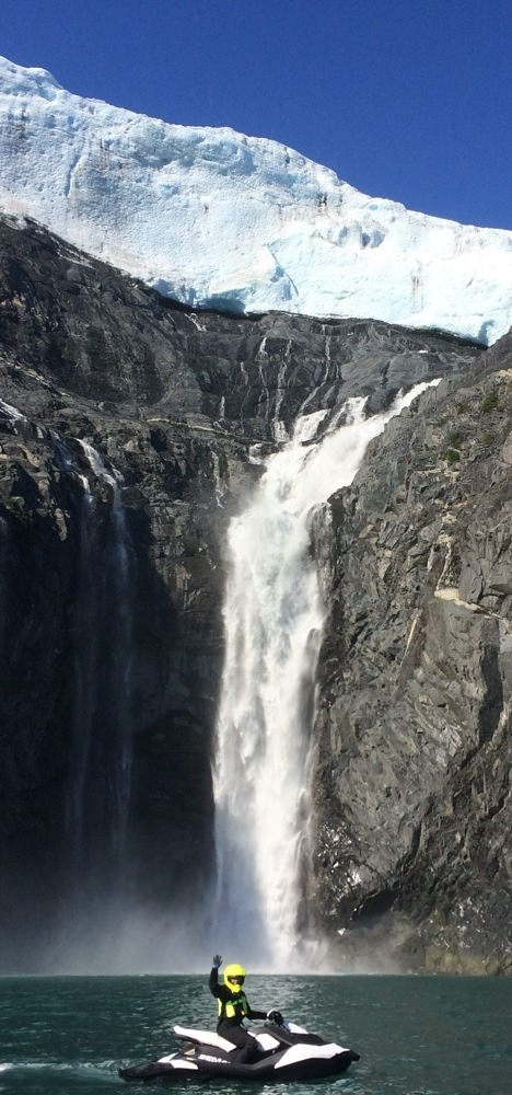 Get up close and personal with the astonishing beauty of Explorer Glacier Waterfall