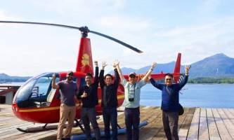Helicopter Air Alaska Heli Passengers on dock2019