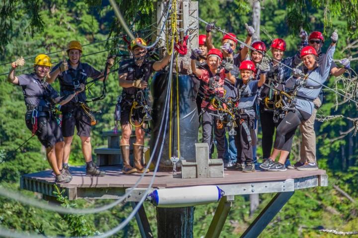 People in ziplining gear pose on a platform in a treetop at the start of a zipline run.