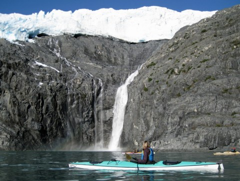 Northland Falls is one of the most spectacular waterfalls in Alaska, dropping about 500 ft. off Northland Glacier in Prince William Sound