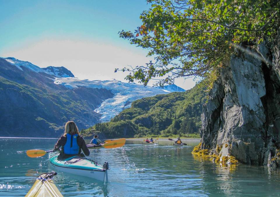 People kayaking in the Prince William Sound with a glacier in the back ground.