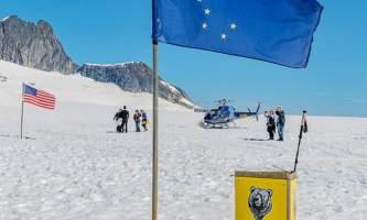 Northstar trekking glacier dog sled adventure Cropped Flag