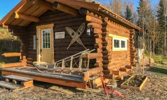 Leslie Paws for Adventure pics for Alaska Channel trapper jims cabin copy