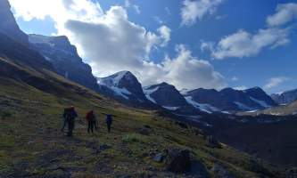 St elias alpine guides Hiking by The Seven Sisters Alaska