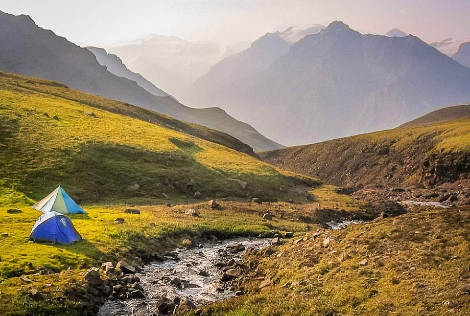 Tent in a mountain valley