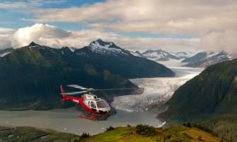 Temsco helicopter flightseeing mendenhall glacier walk Heli with Mendy in backround TEMSCO Mendenhall Flightseeing and Glacier Walk