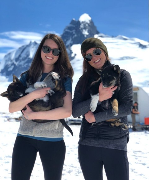 Two people hold onto husky puppies