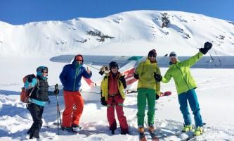 Skiing group alaska tok air service backcountry skiing