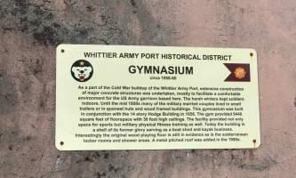 Gymnasium Sign alaska whittier historic walking tour ted spencer wings over alaska
