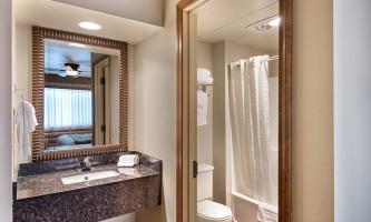 Denali princess wilderness lodge Room King room bathroom at Denali Princess dpl 092019
