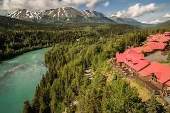 Exterior Aerial Kenai and river kpl 04 alaska kenai princess wilderness lodge