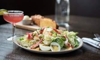 Dining Crab salad at Karstens at Mc Kinley Chalet mc 16 alaska mckinley chalet resort denali princess