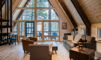 Salted roots kenai blue cabin living room