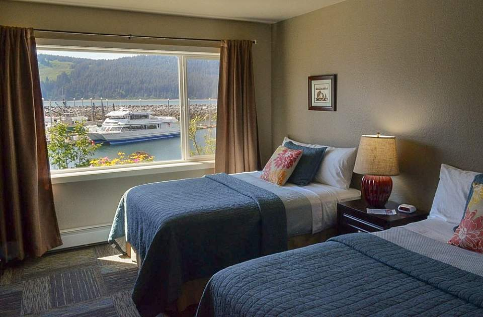 Comfortable rooms offer views of shimmering Seldovia Bay or the surrounding mountains