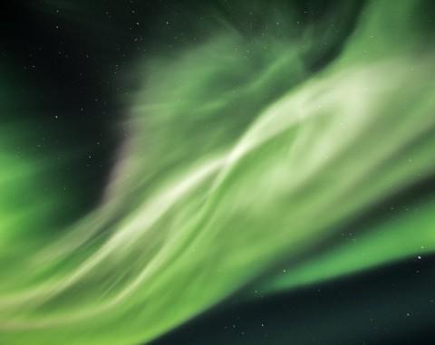 Vibrant green Northern Lights.
